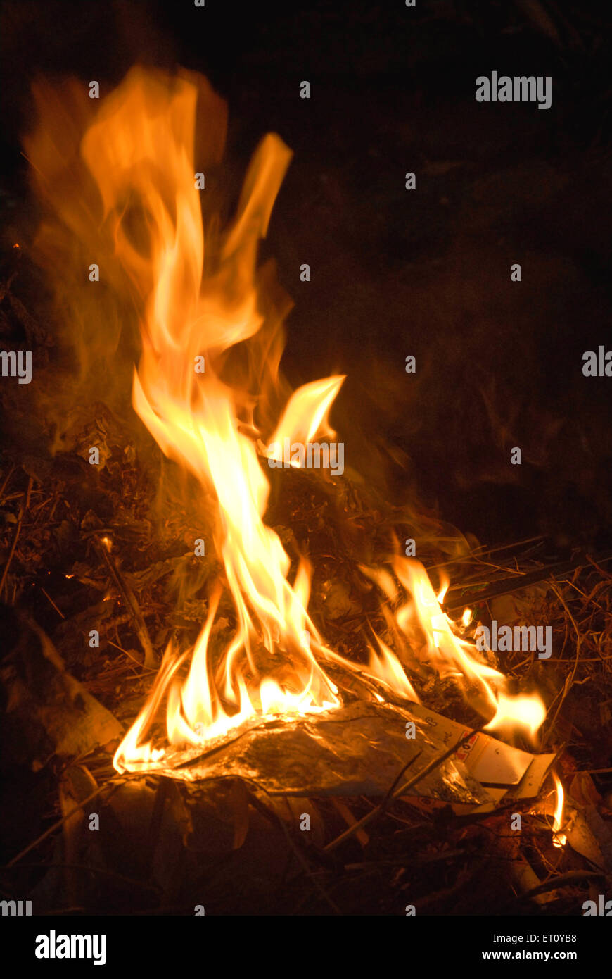 Fire flame burning of garbage - Stock Image