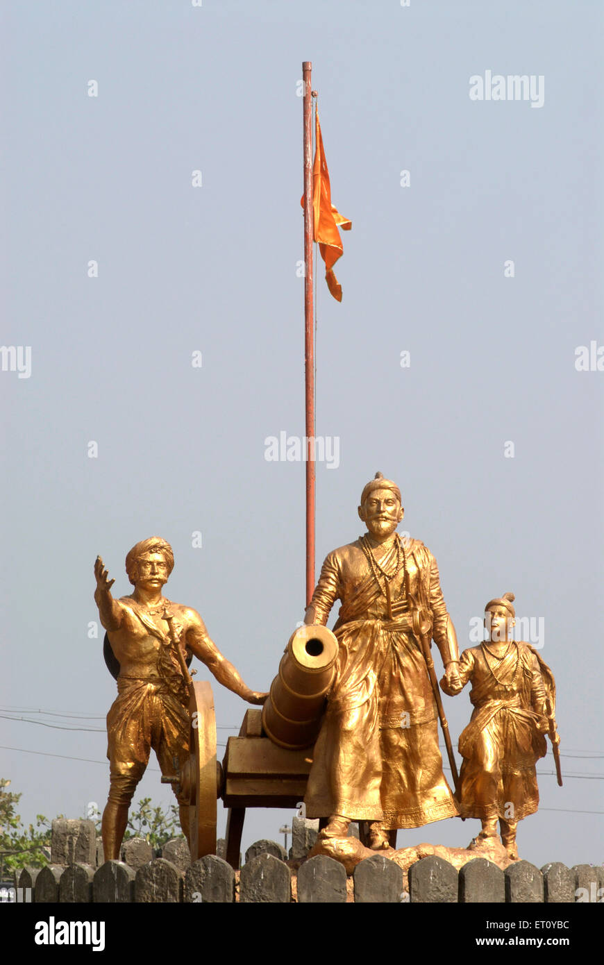Statue of Chhatrapati Shivaji maharaja with Sambhaji Admiral and cannon ; Bombay Mumbai ; Maharashtra ; India 2009 - Stock Image