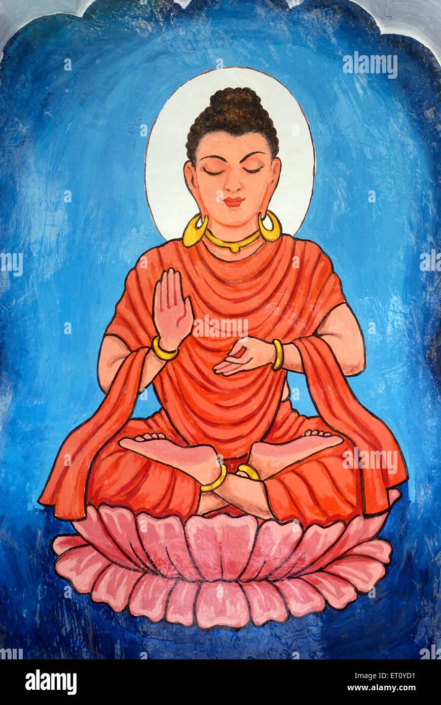 Buddavatar Lord Buddha ninth incarnation of Lord Vishnu painted wall Vishnu Narayan temple Pune - Stock Image