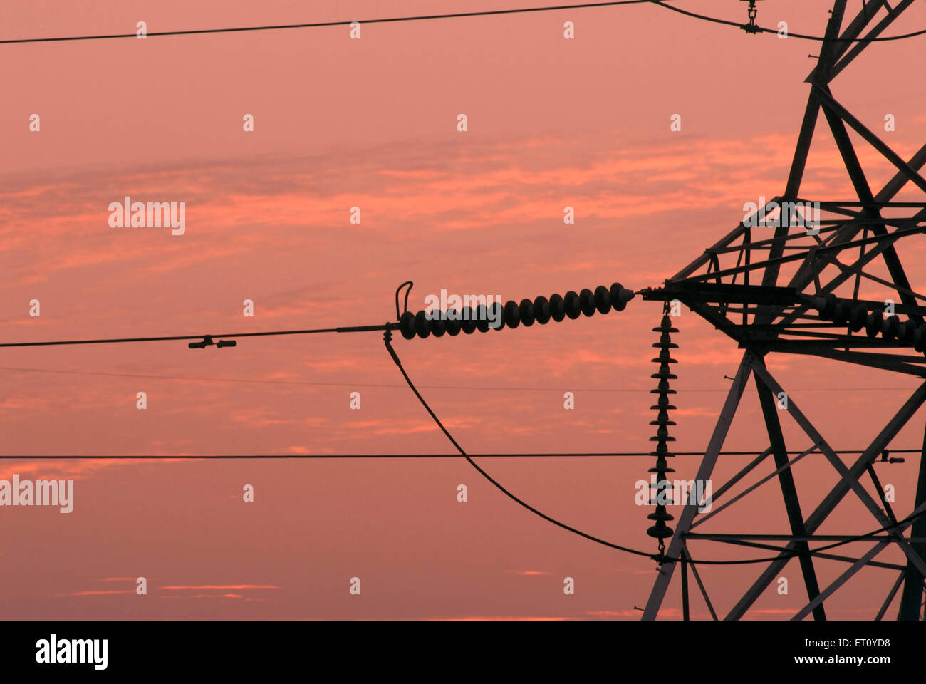 Close up of connections of high tension line tower at sunset ; Pune ; Maharashtra ; India - Stock Image
