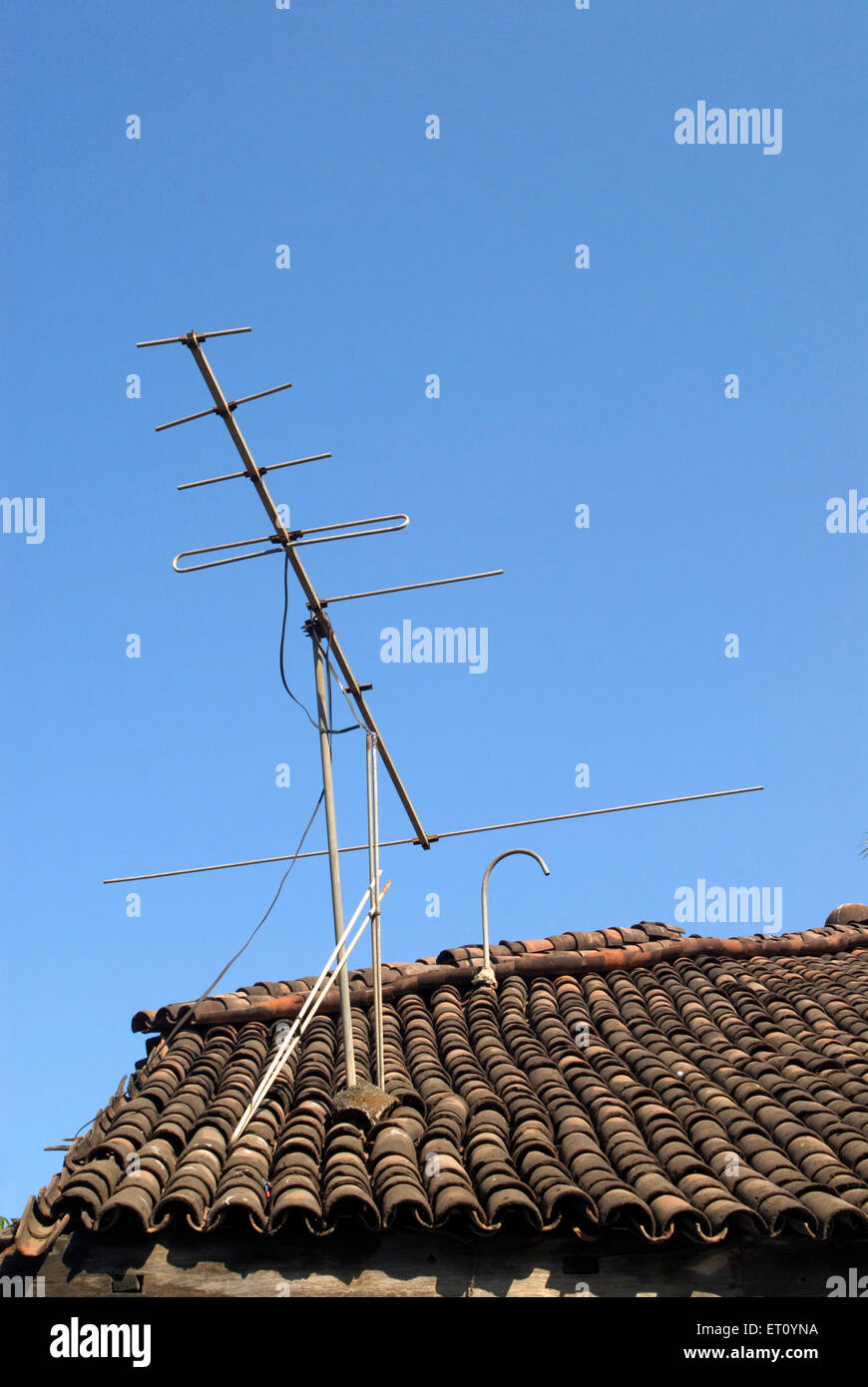 Old Tv Antenna Stock Photos Images Alamy House Wiring Diagram Roof Of Village With Television Bassein Now Vasai District Thane