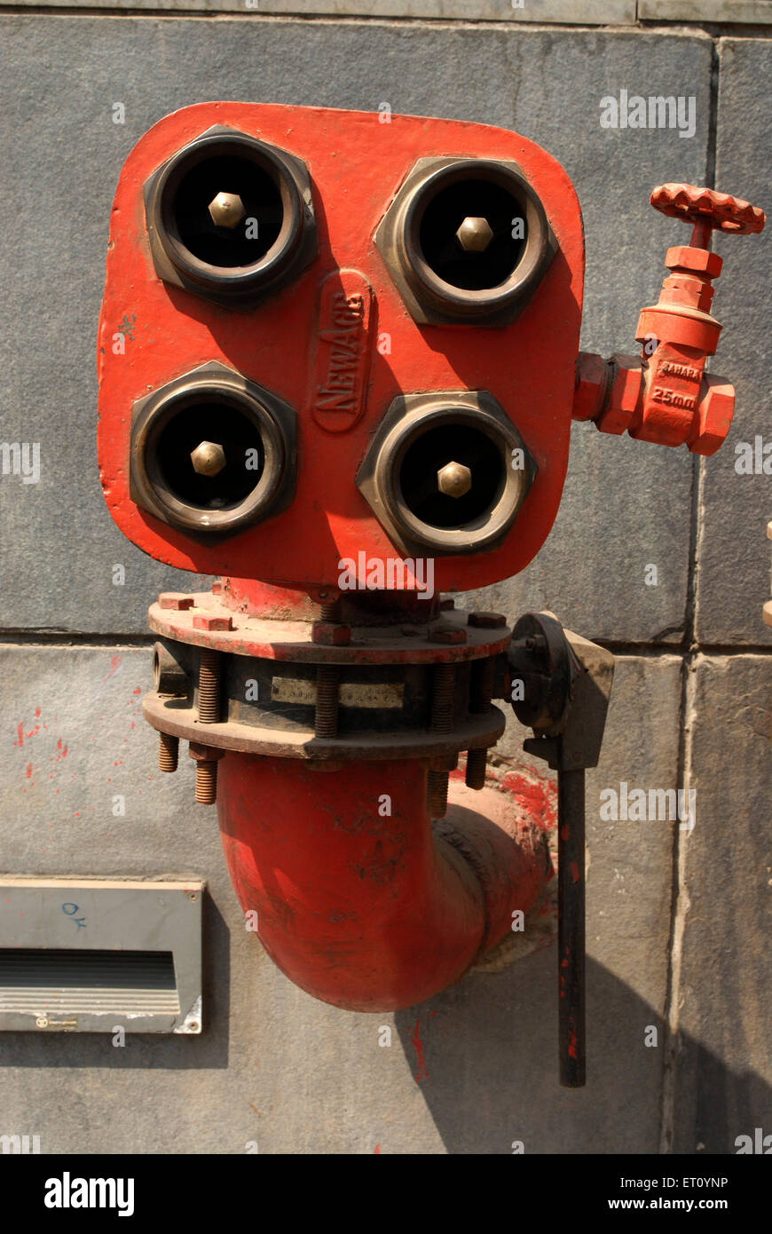 Fire Fighting equipments of huge commercial complex Hydrant valve hose coupling at Ganeshkhind road Pune ; Maharashtra - Stock Image