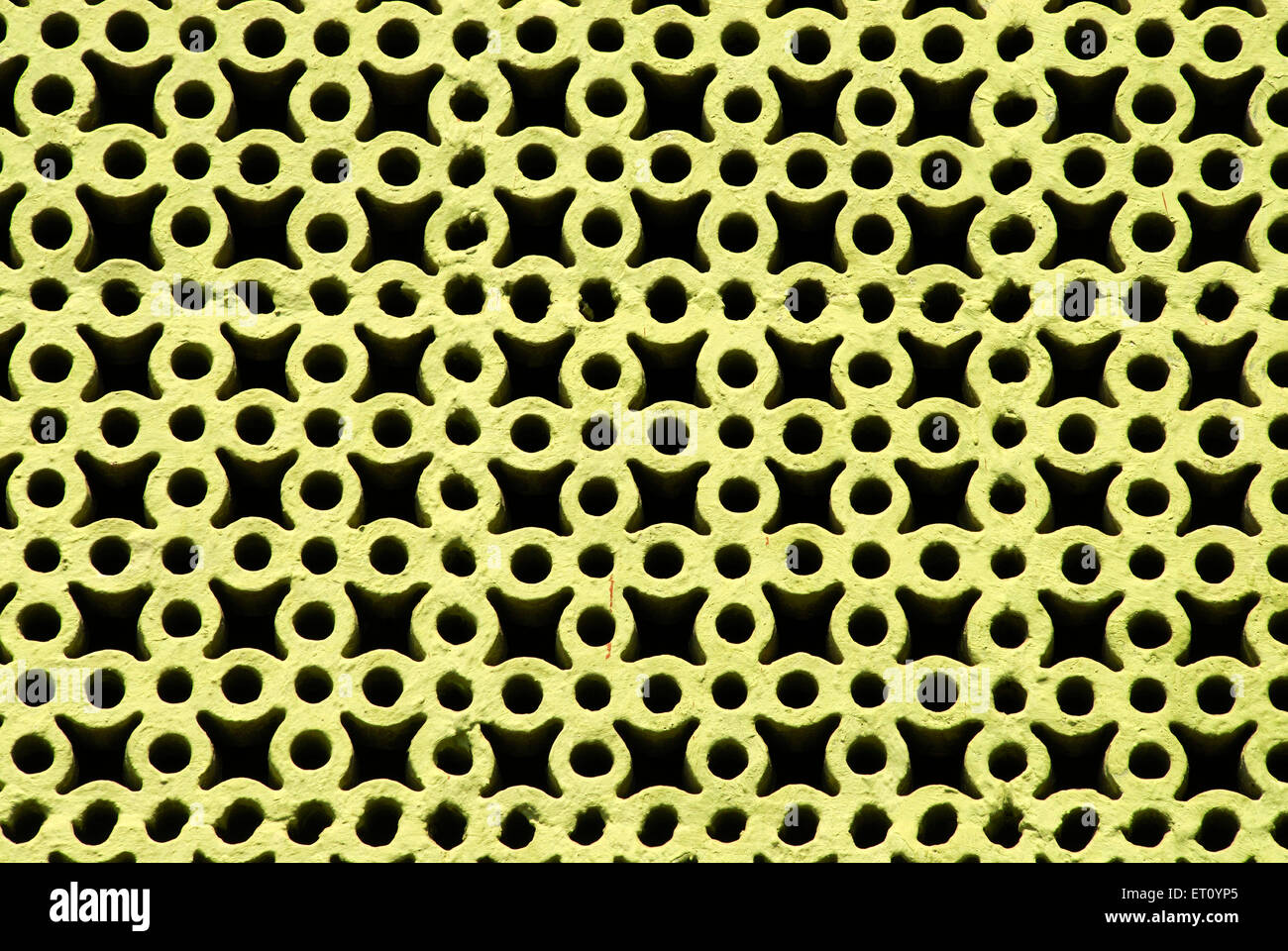 Reinforced cement concrete jali used at staircase of building for ventilation and light ; Pune ; Maharashtra ; India - Stock Image
