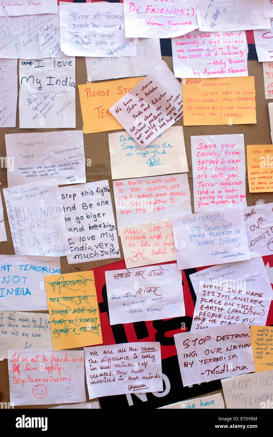 Message to Pakistan against terrorism written by people at Kala Ghoda art festival 2009  ; Bombay Mumbai - Stock Image