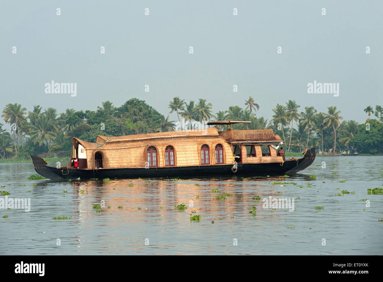 Kettuvallam converted in houseboat in backwaters ; Alleppey Alappuzha ; Kerala ; India 2010 - Stock Image