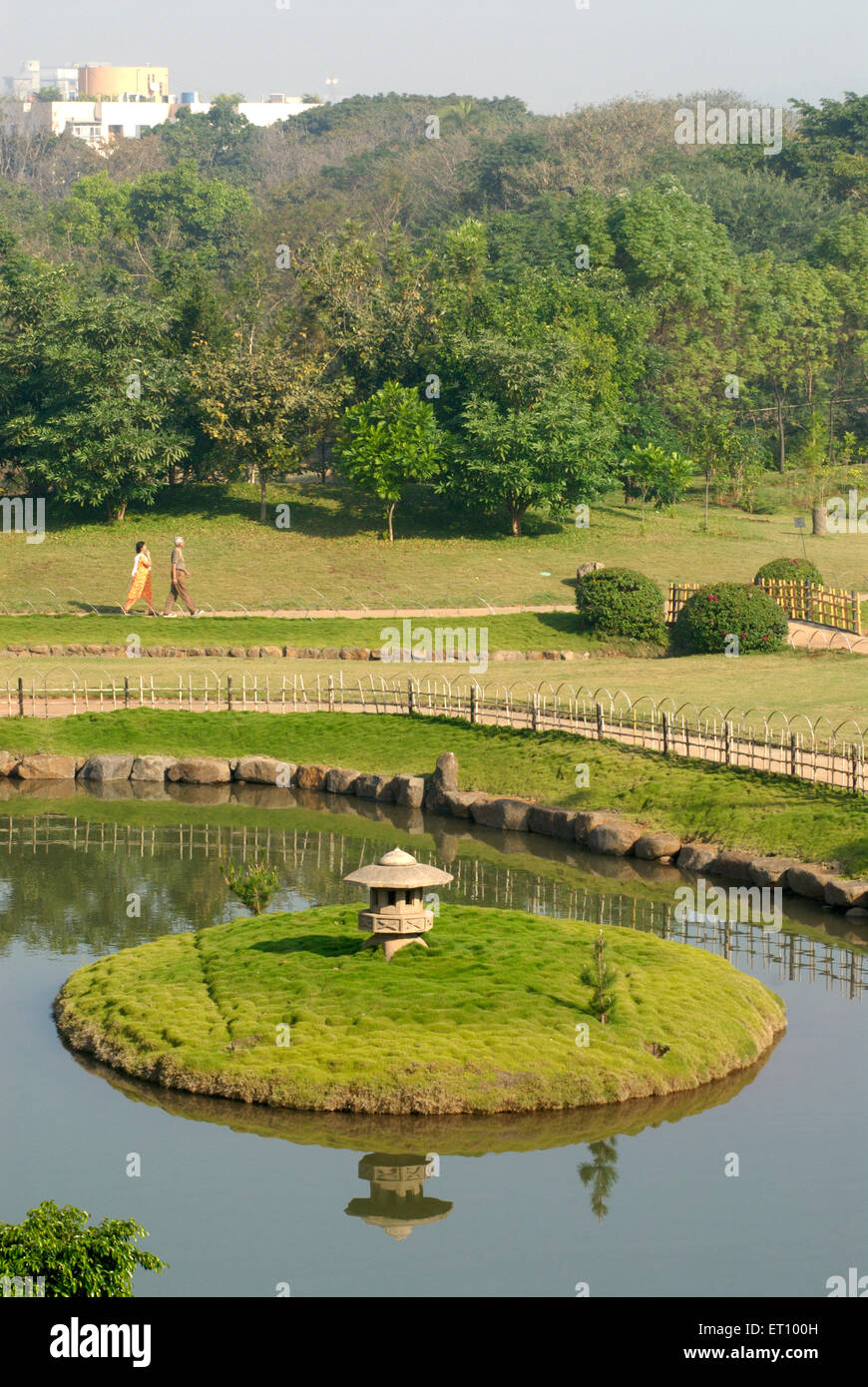 Nakanoike pond in okayama friendship or p l. deshpande garden ; Pune ; Maharashtra ; India - Stock Image