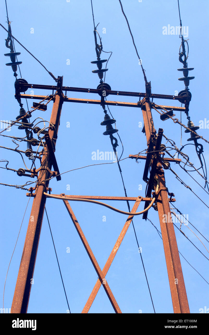 Electric pole with connections - Stock Image