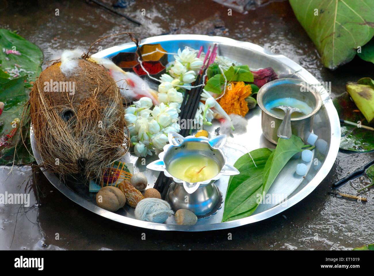 Puja thali steel platter on vat savitri festival - Stock Image