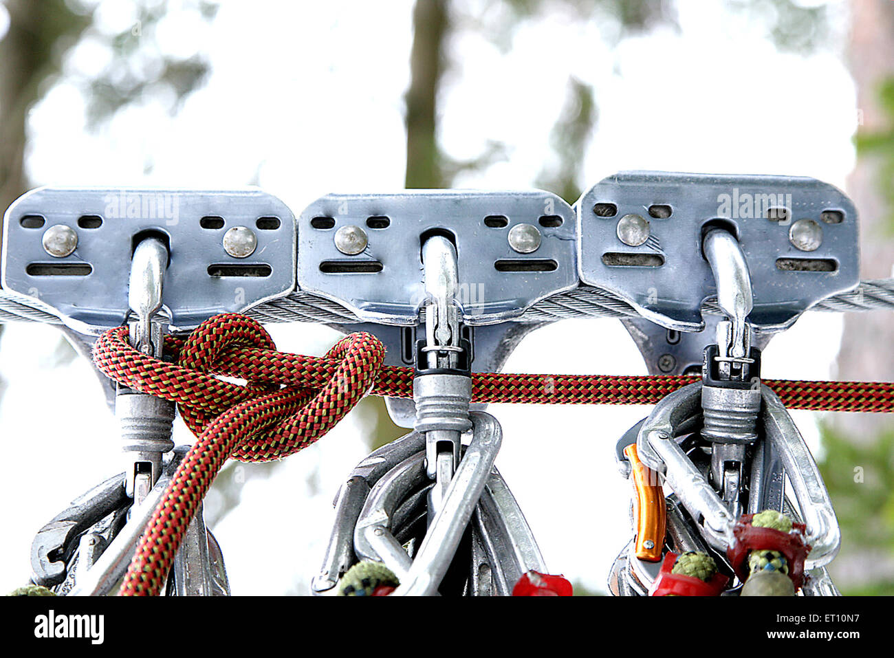 climbing systems three safety gadgets deporting over river - Stock Image