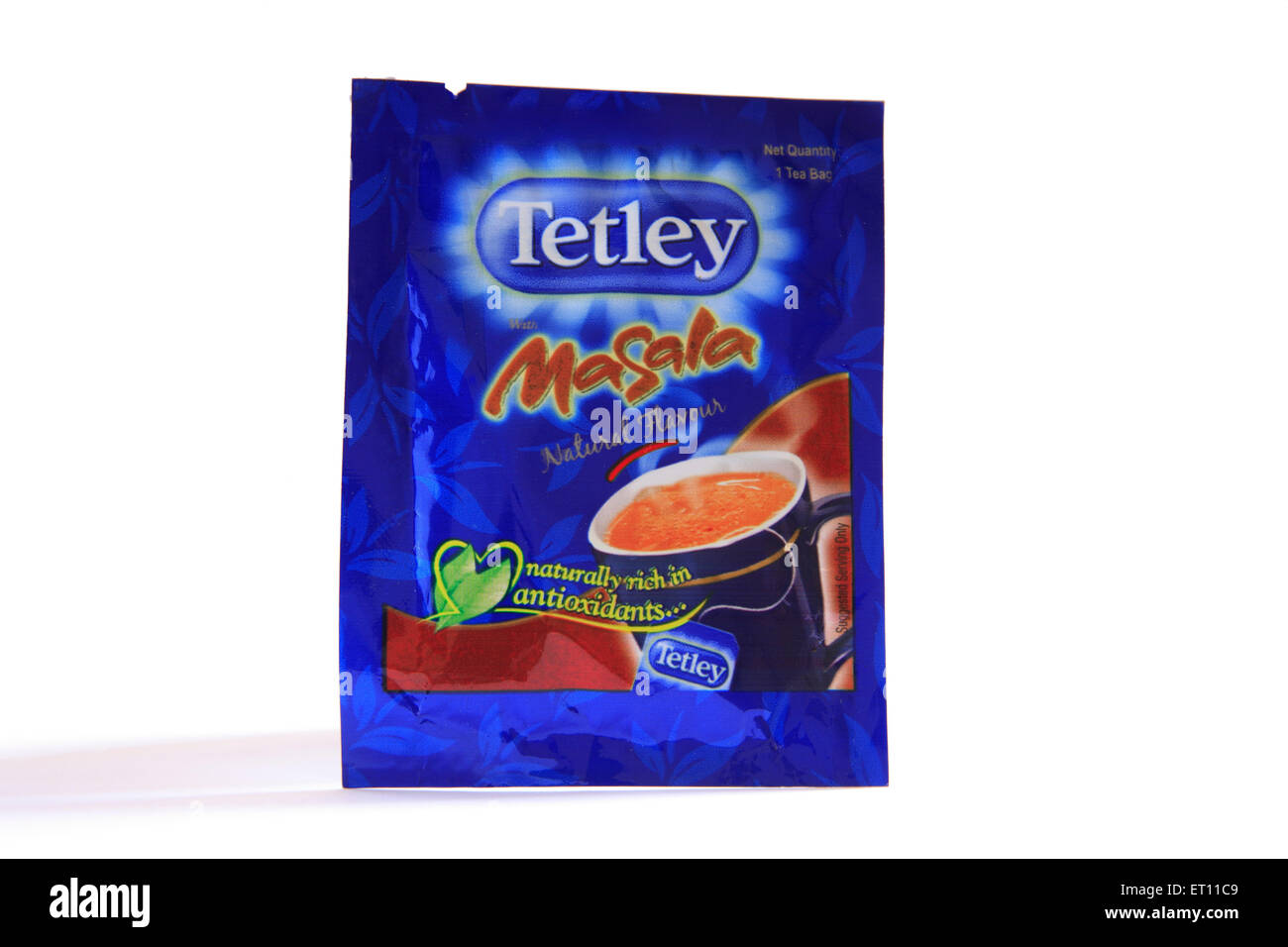 Tetley tea masala in blue packet on white background - Stock Image