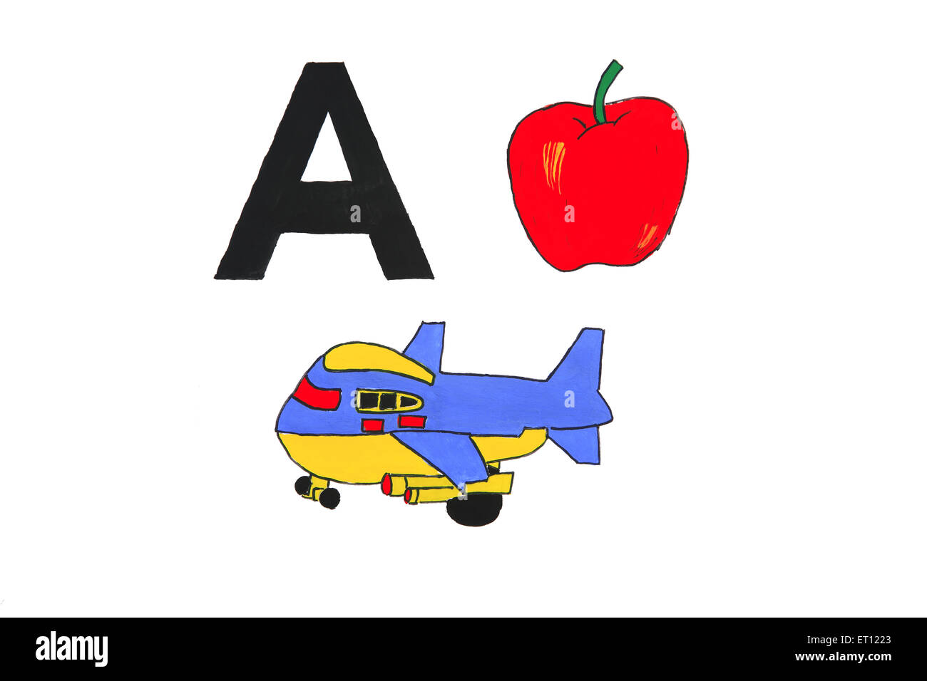 Watercolour painting of alphabet a with aeroplane and apple - Stock Image