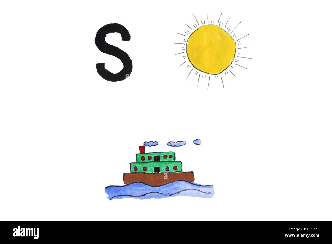 Watercolour painting of alphabet s with ship and sun - Stock Image