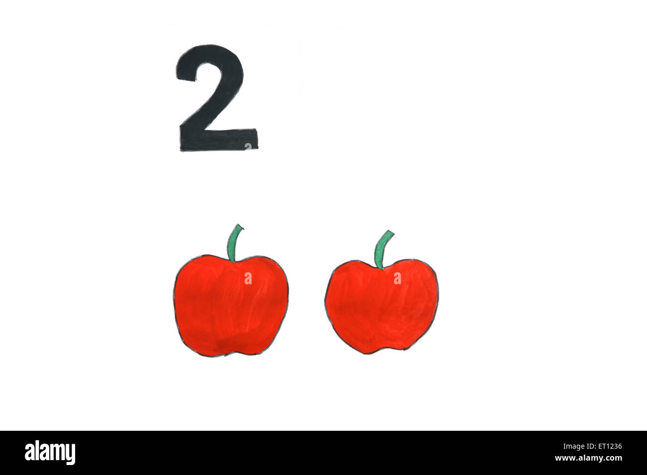 Watercolour painting numeral two with apples - Stock Image