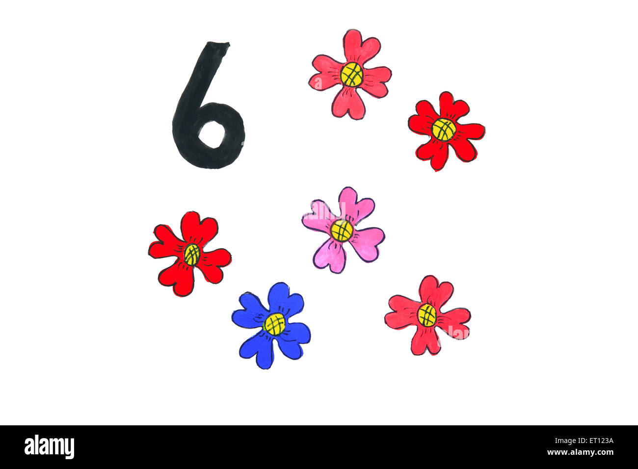 Watercolour painting numeral six with flowers - Stock Image