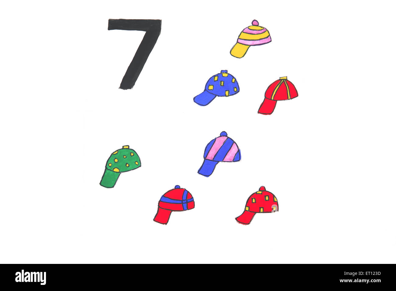 Watercolour painting numeral seven with caps - Stock Image