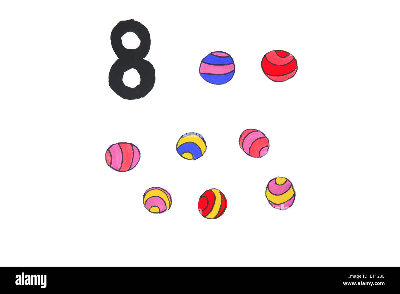 Watercolour painting numeral eight with balls - Stock Image