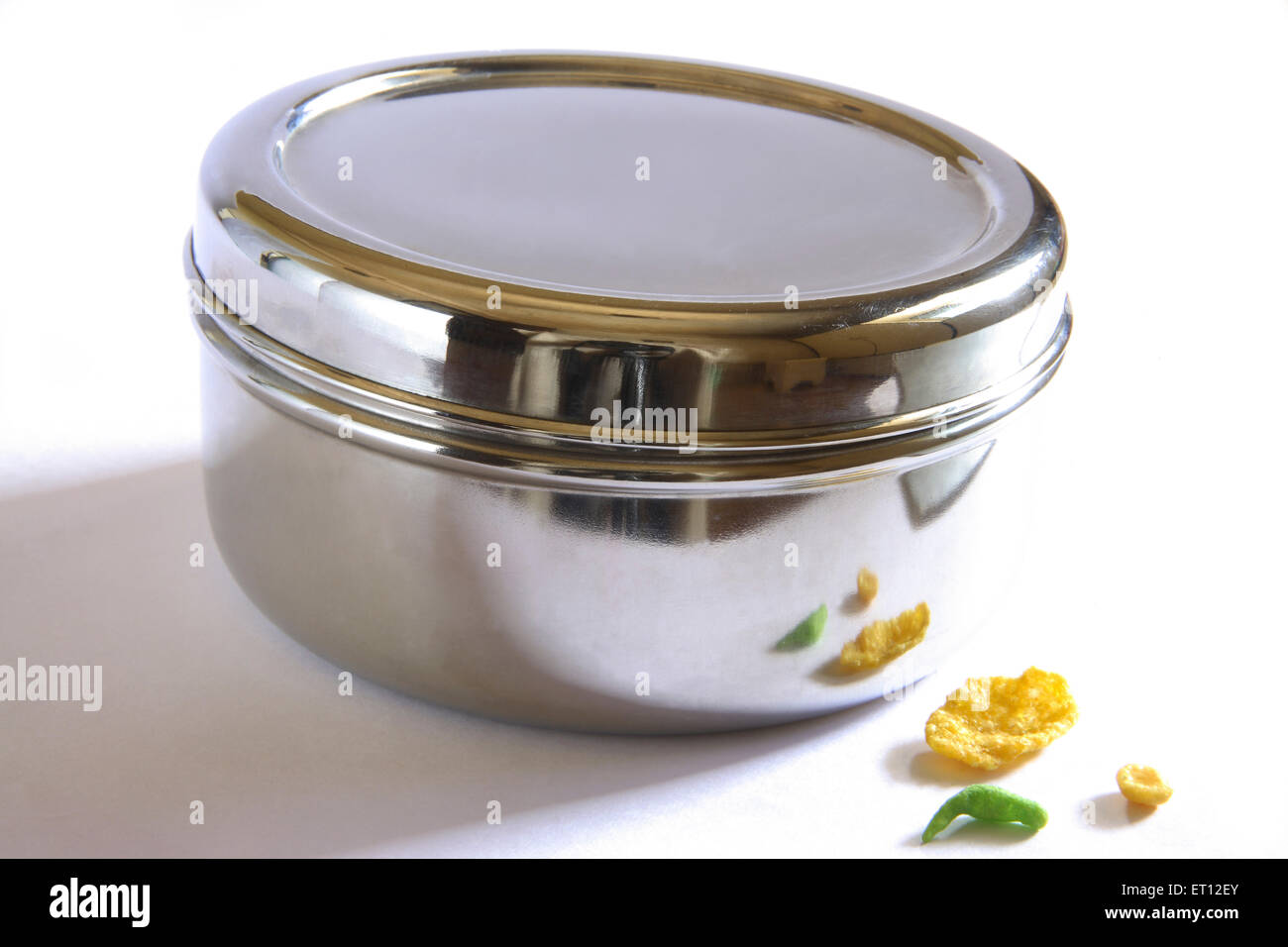 Box ; steel container and Chiwda Savoury ; snack mix ; India - Stock Image