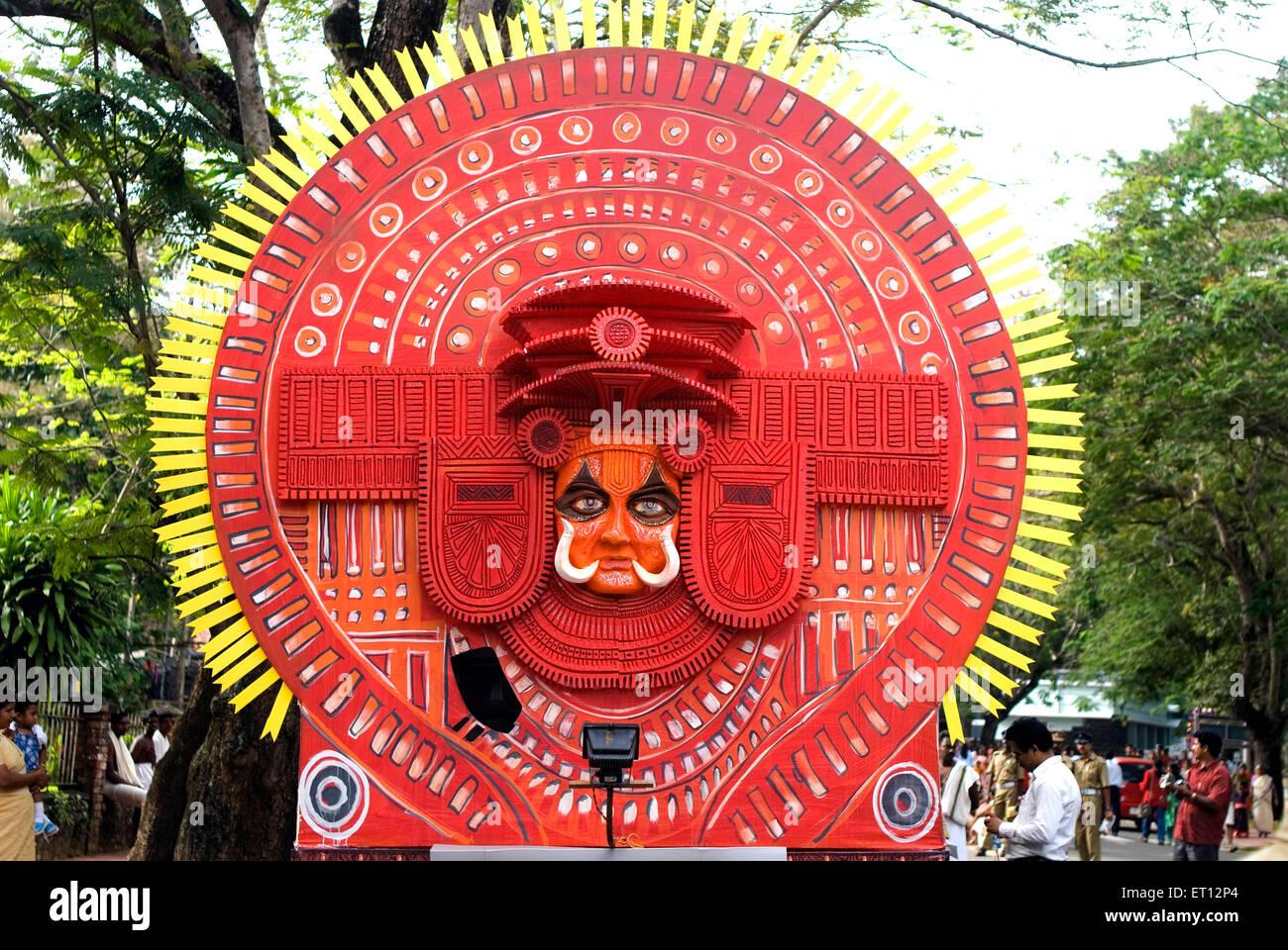 Float of theyyam theyam during onam celebration ; Trivandrum ; Kerala ; India 2008 - Stock Image