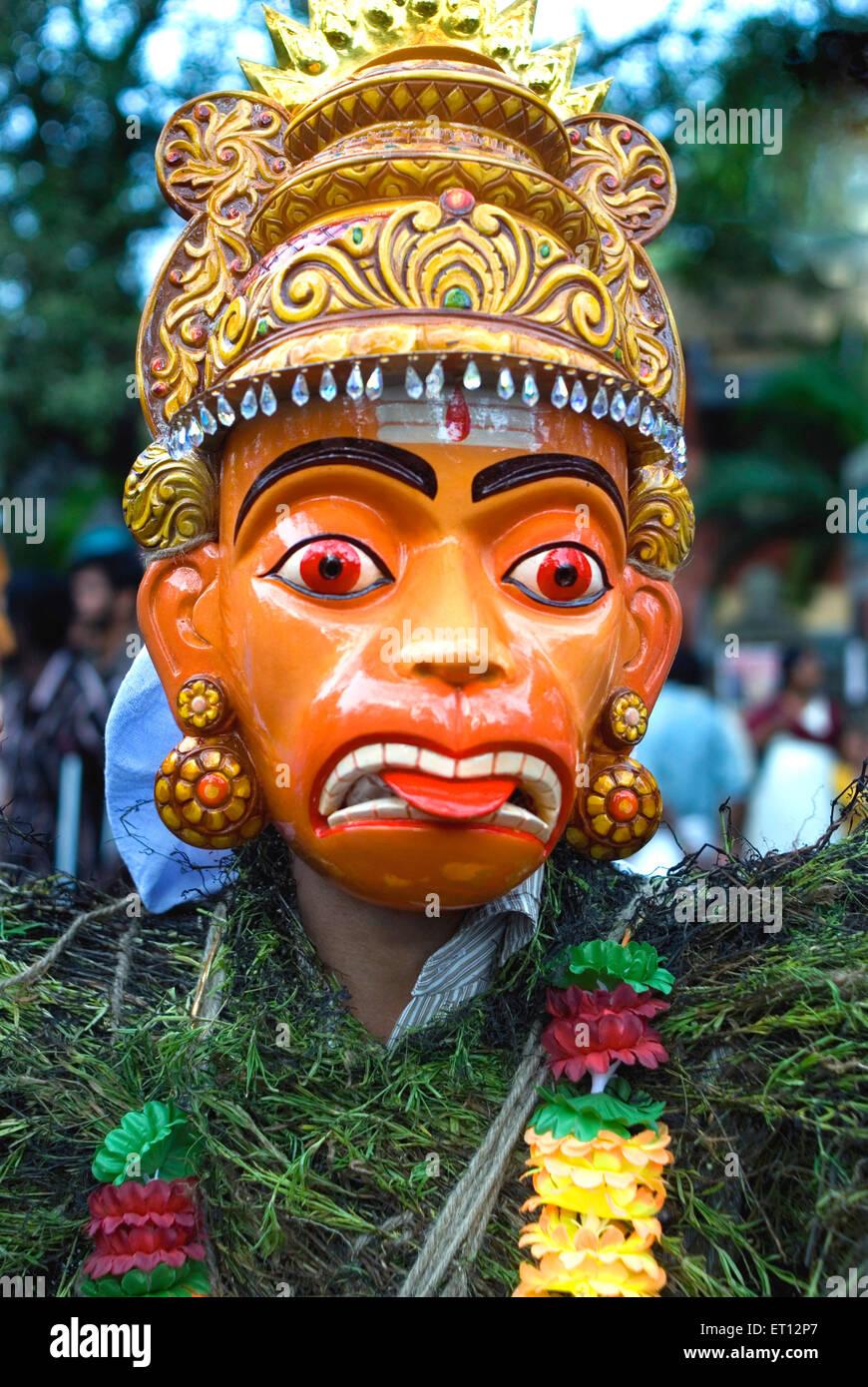 Kummattikali folk art hanuman mask performer during onam celebration ; Trivandrum ; Kerala ; India 2008 - Stock Image