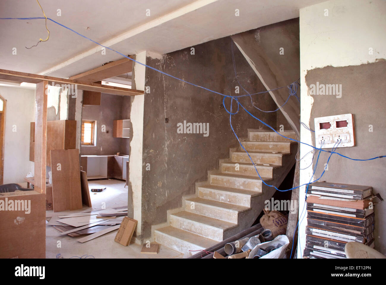 Steps in under construction structure Stock Photo