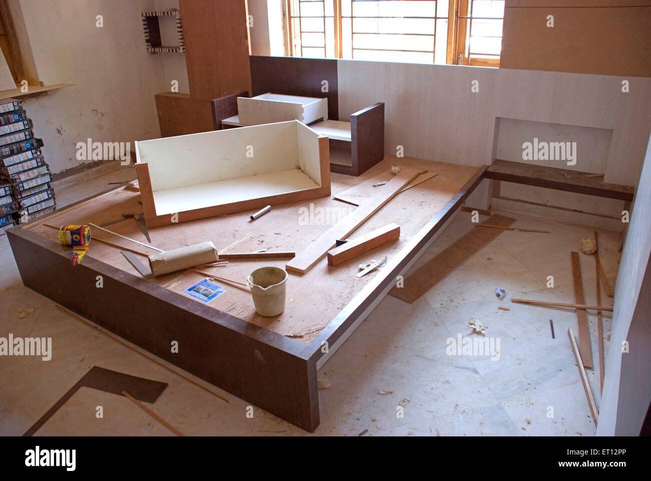Incomplete carpentry work - Stock Image