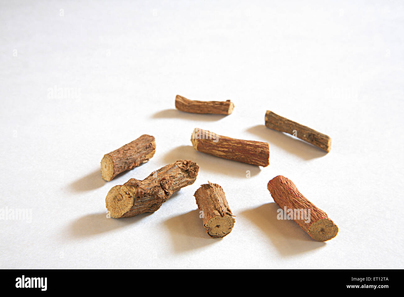 Mulethi Liquorice Glycyrrhiza glabra made from root of  European plant used in medicine and confectionery a flavoured Stock Photo