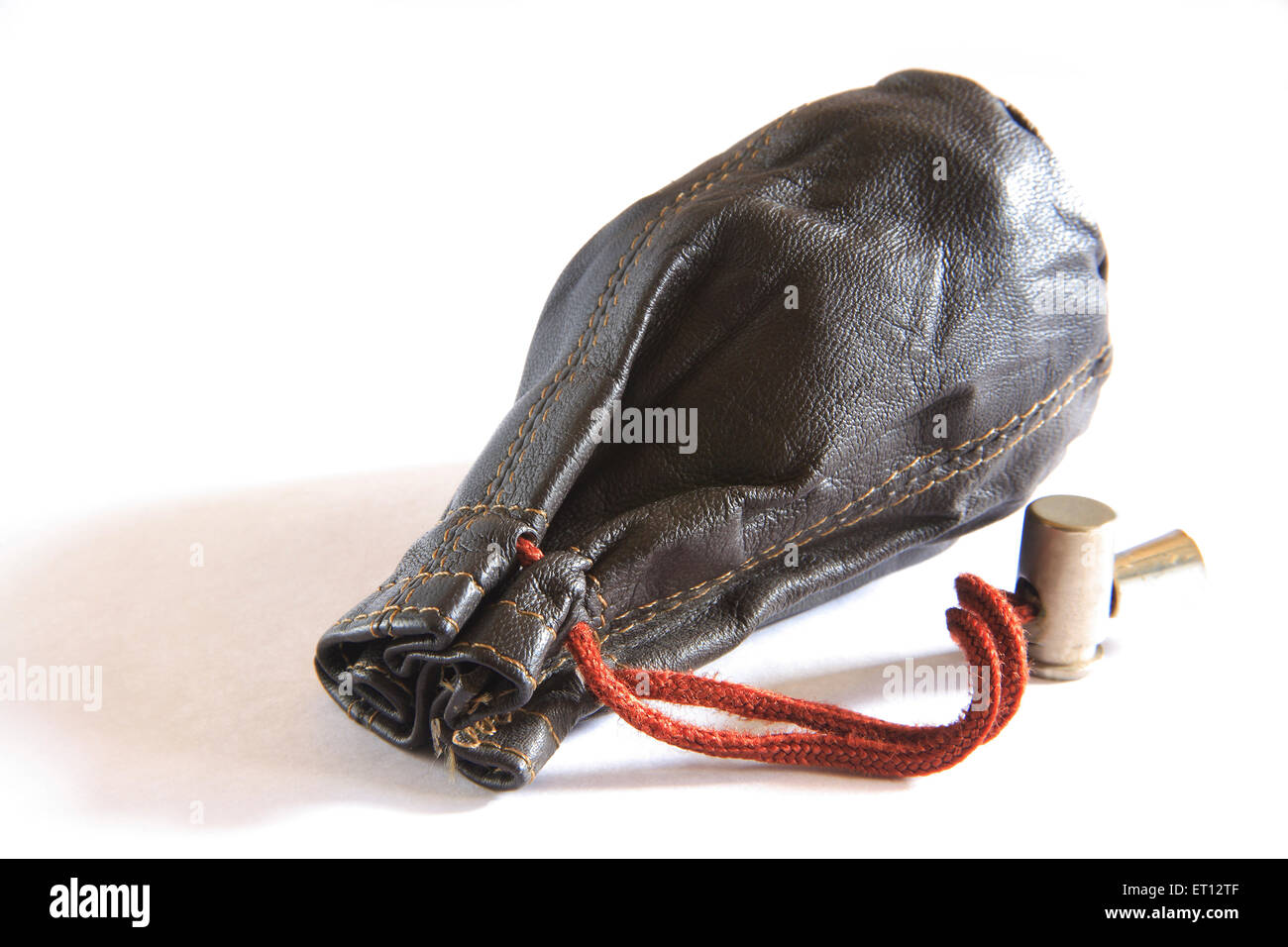 Leather pouch ; small bag ; purse or  wallet  ; finances  ; India - Stock Image