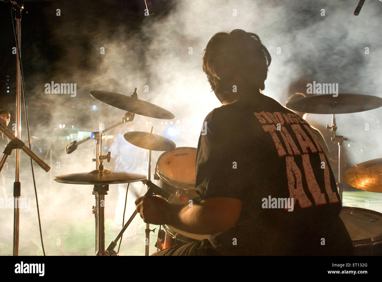Rock show drummer NO MR - Stock Image