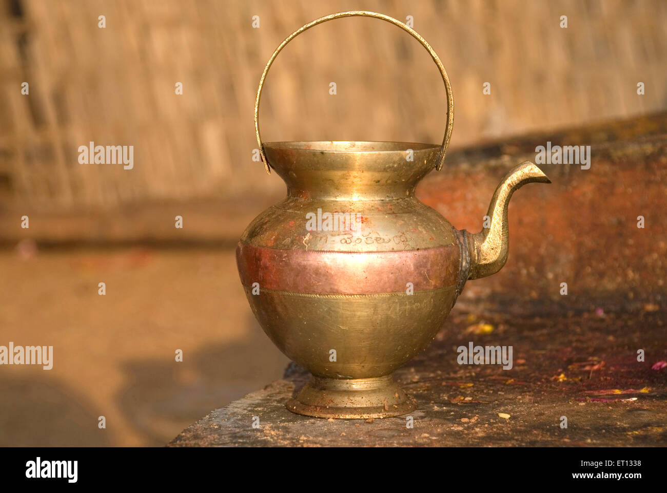 Brass pot - Stock Image