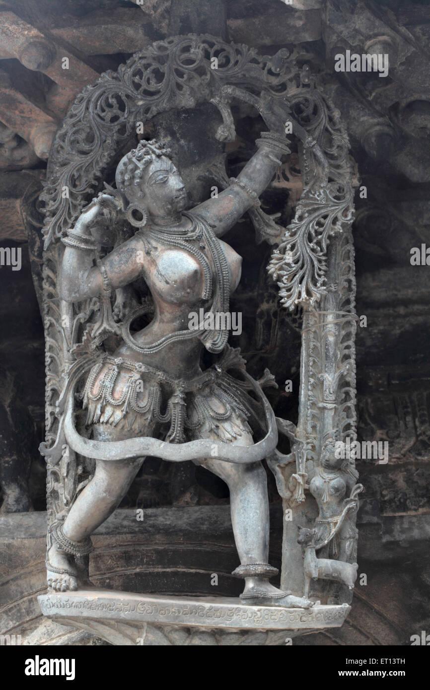 Bracket statue of dancer at channakeshava temple ; Belur ; Karnataka ; India - Stock Image