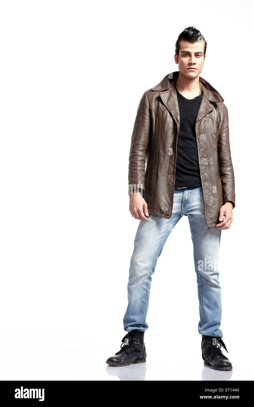 Man in Blue Jeans & Leather Jacket India Asia MR#790E - Stock Image