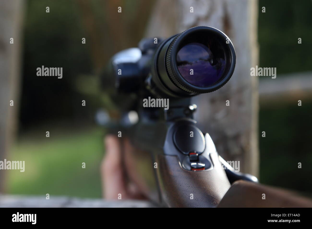 A Scope of a hunting rifle gun - Stock Image