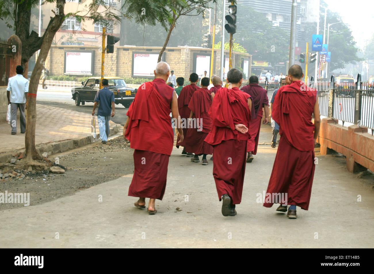 Buddhists travellers tourists ; Bombay Mumbai ; Maharashtra ; India Stock Photo
