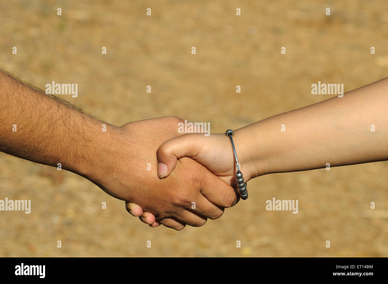 Male and female handshake Unity strength - Stock Image