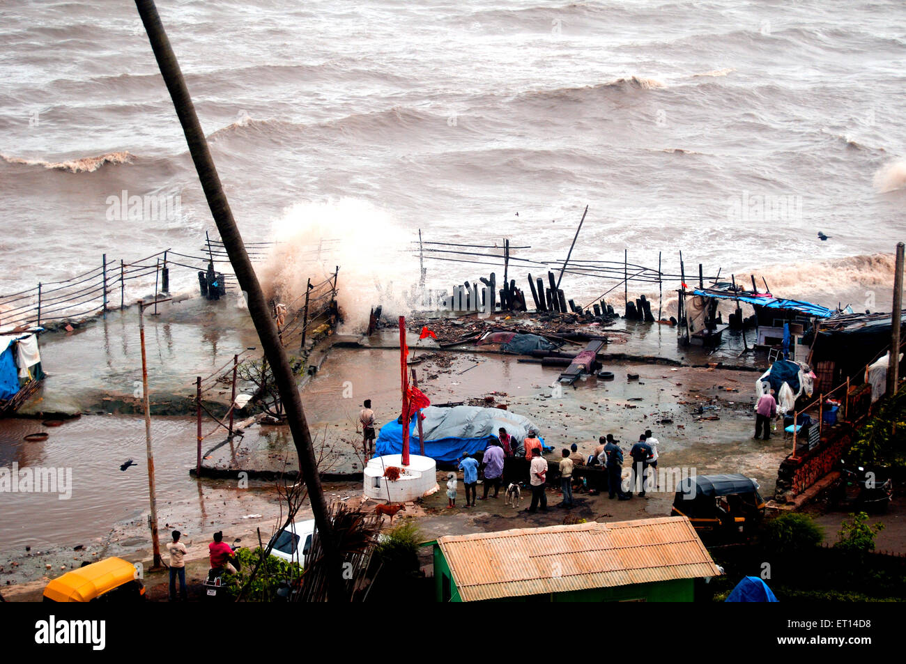 High tide destruction mumbai India - Stock Image