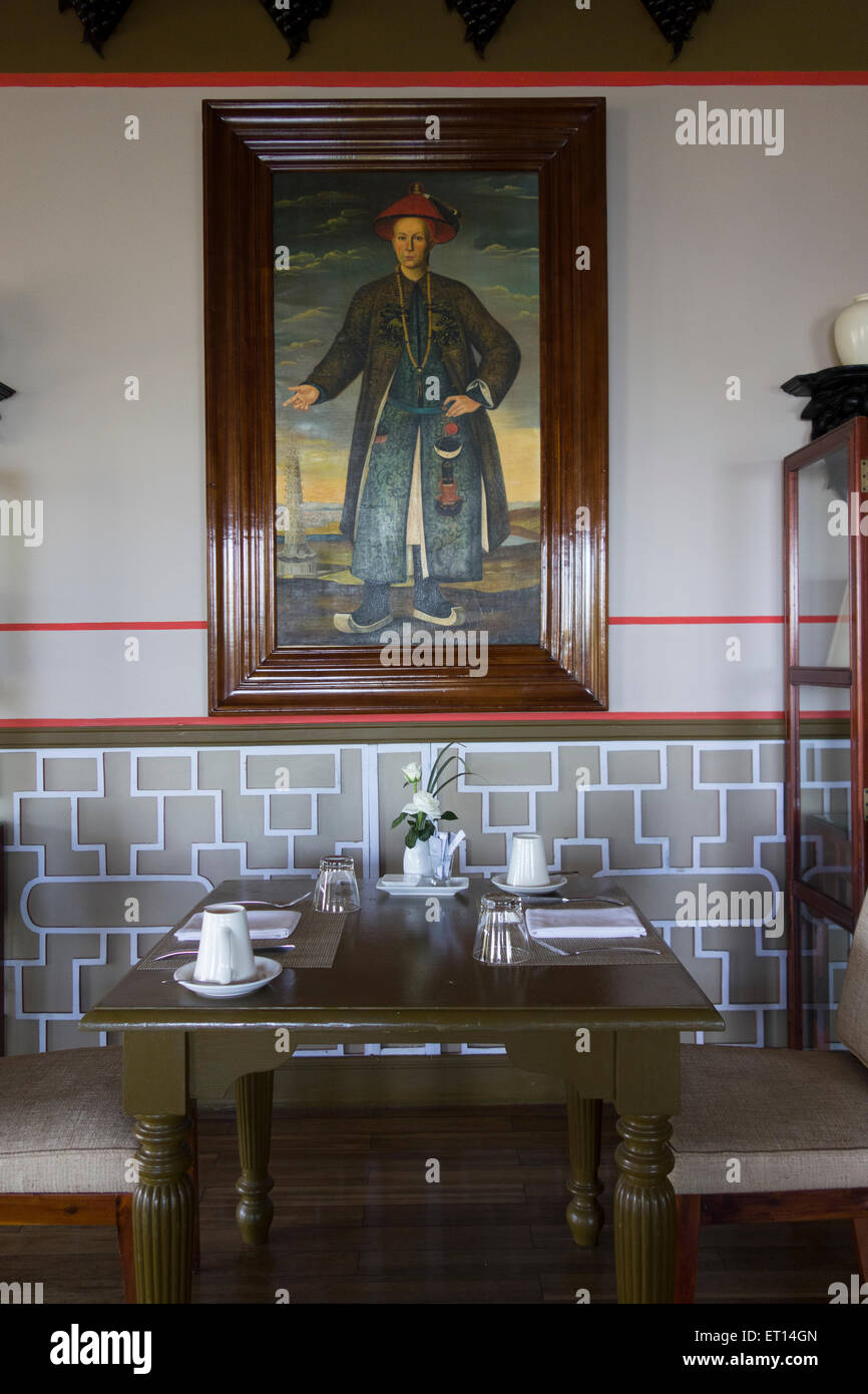 restaurant and table setting in La Veranda resort hotel on Phu Quoc Island Vietnam South east Asia - Stock Image