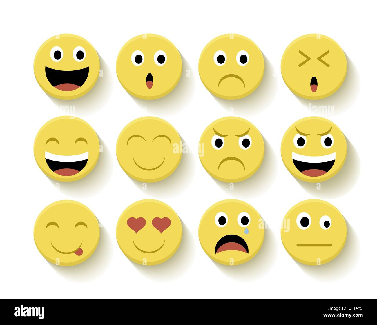 Set of Emoticons flat illustration with isolated background. Ideal for web, chat and app design. EPS10 vector file. - Stock Image
