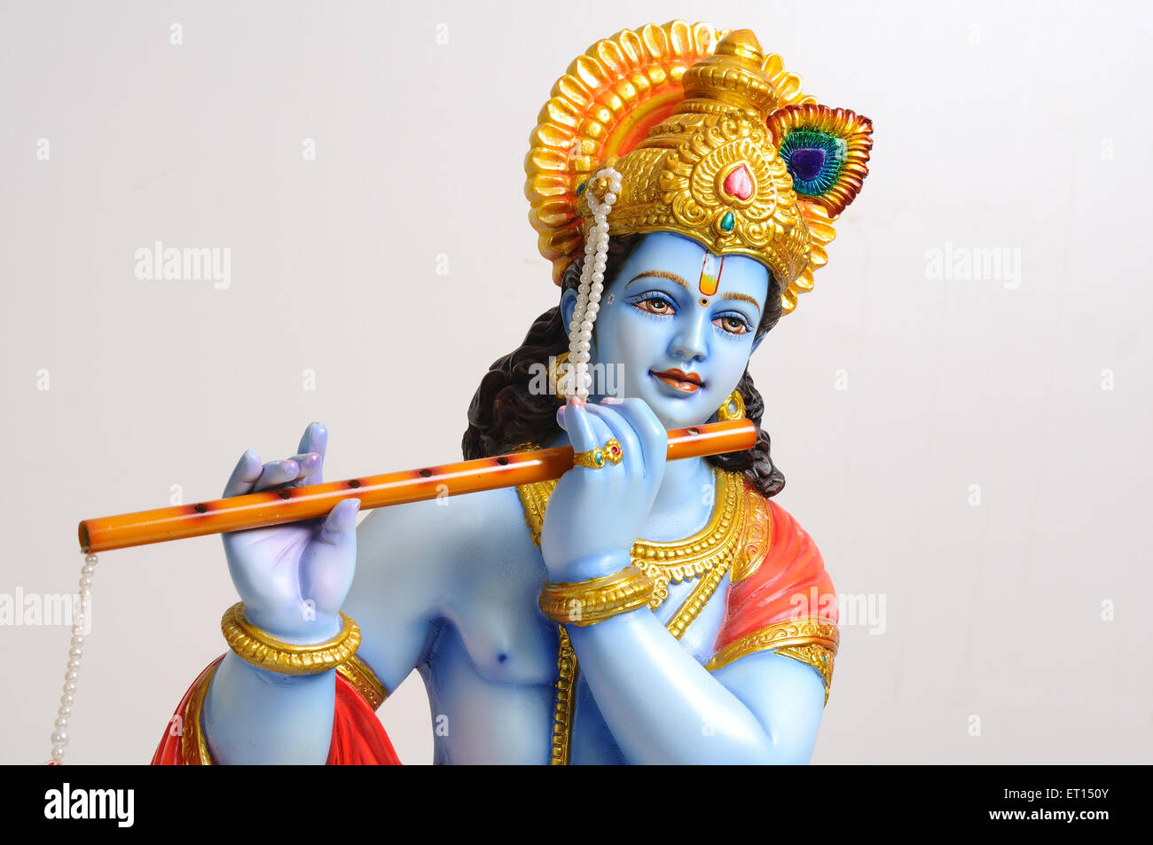 clay statue of god krishna playing flute ET150Y