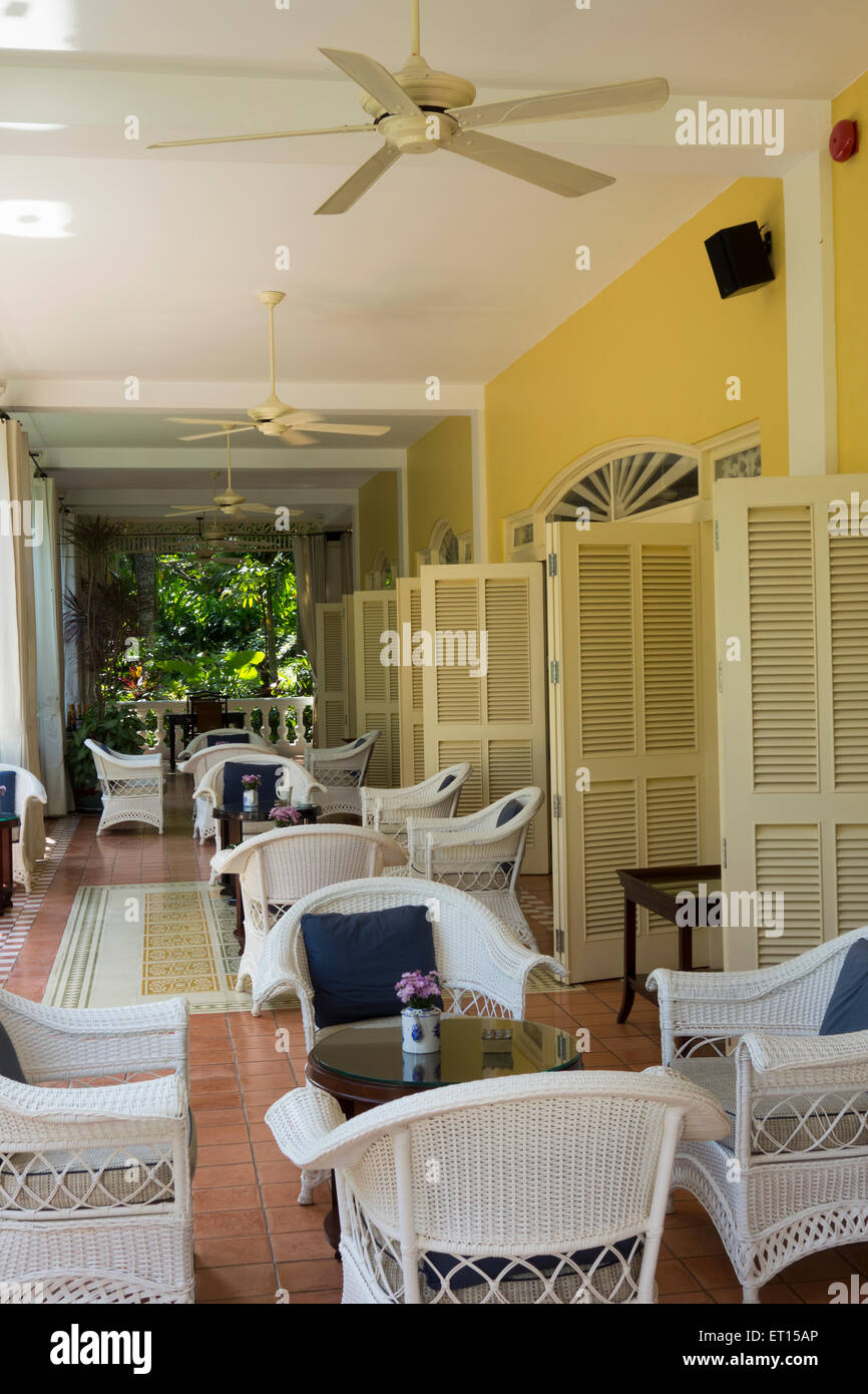 patio of La Veranda resort hotel on Phu Quoc Island Vietnam South east Asia - Stock Image