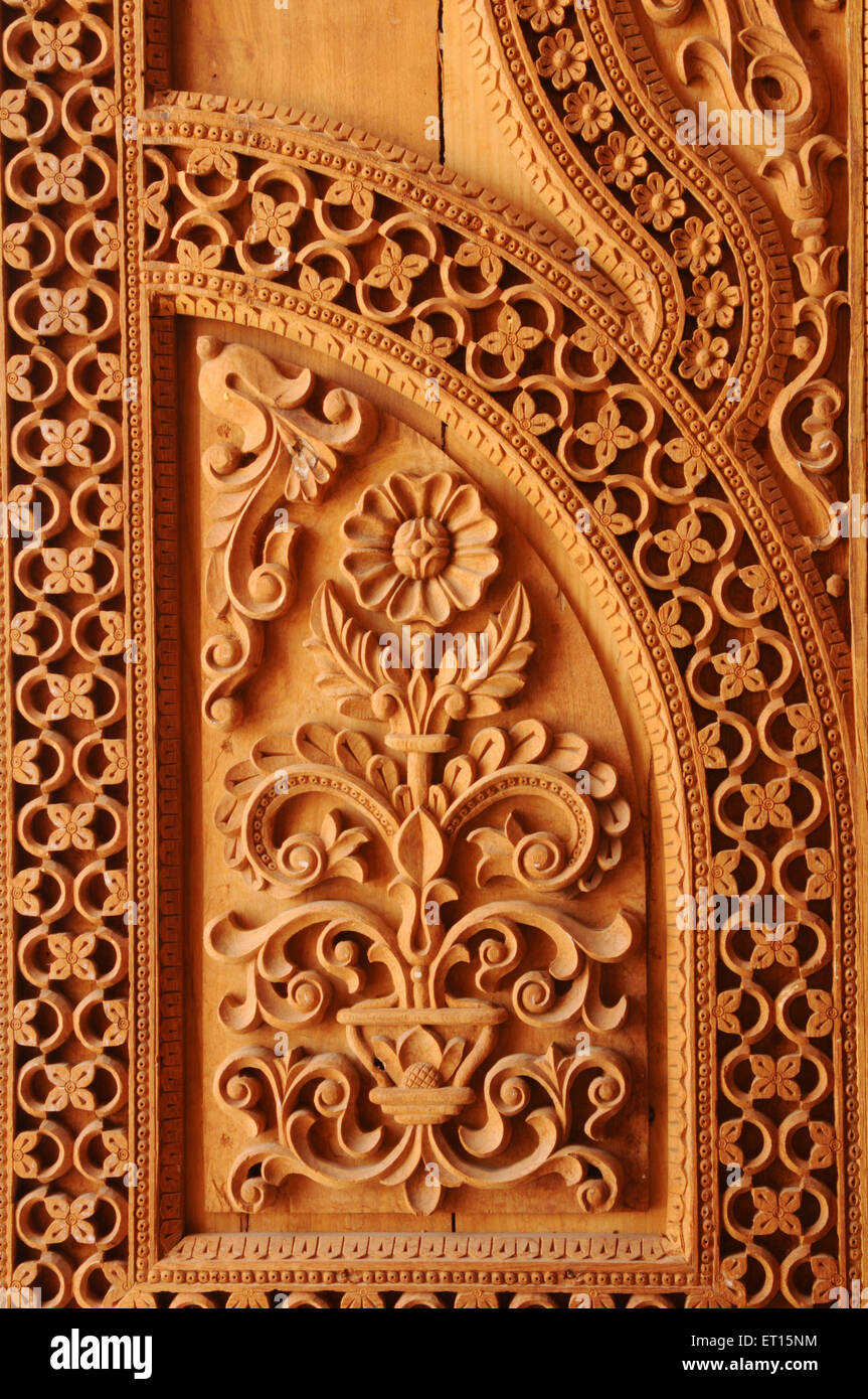 Wood Sculpture On Door Of Jain Temple Kutch Gujarat