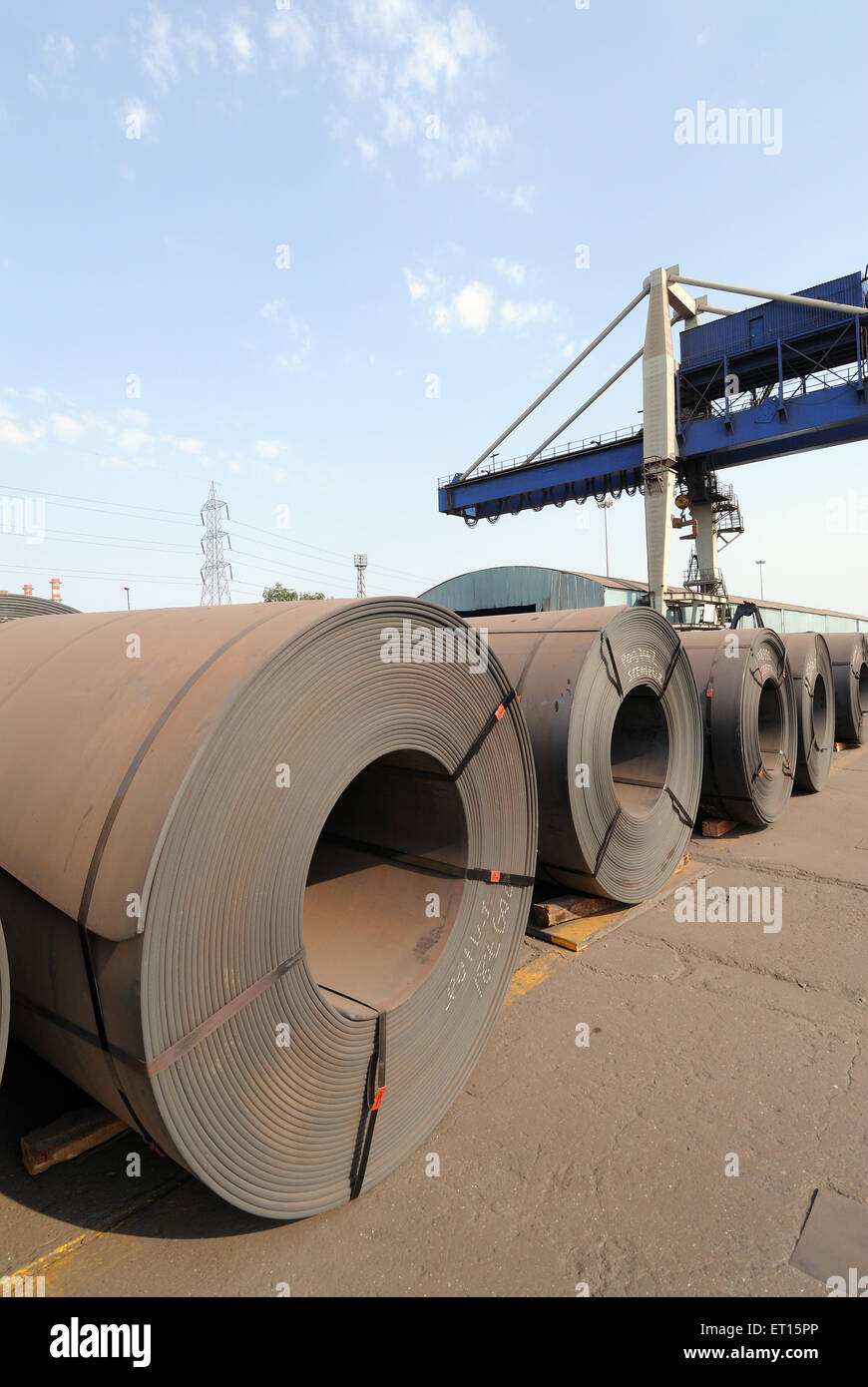 Finished products ready for shipping in steel plant ; Essar steel ; Hajira Plant ; Surat ; Gujarat ; India - Stock Image
