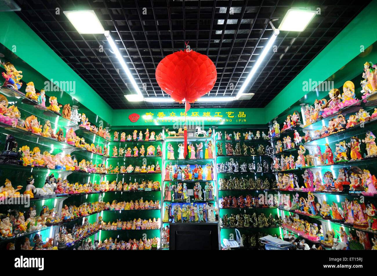 Display of Indian gods in chinese shop ; Yiwu ; China - Stock Image