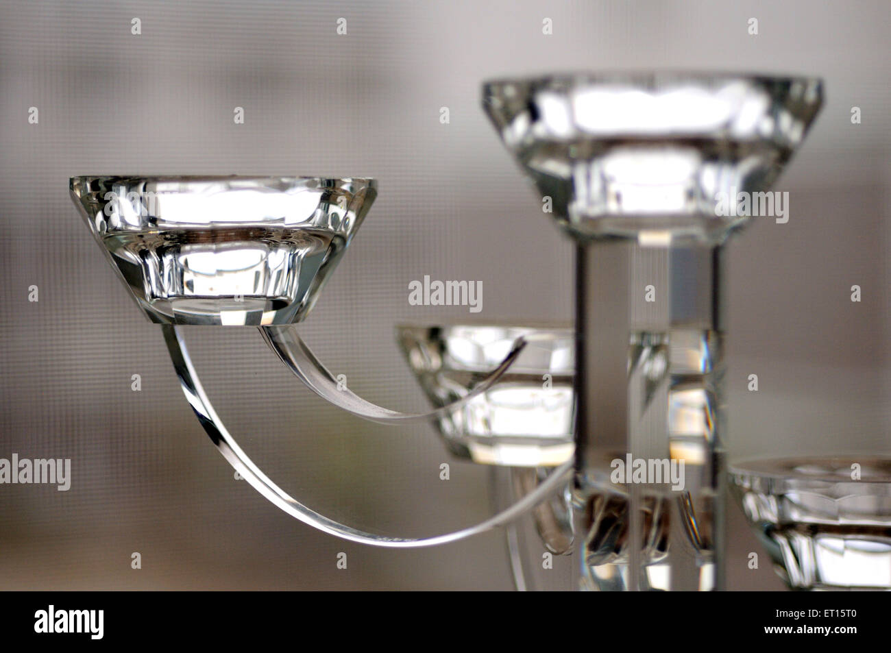 Cut glass candle stand ; China - Stock Image