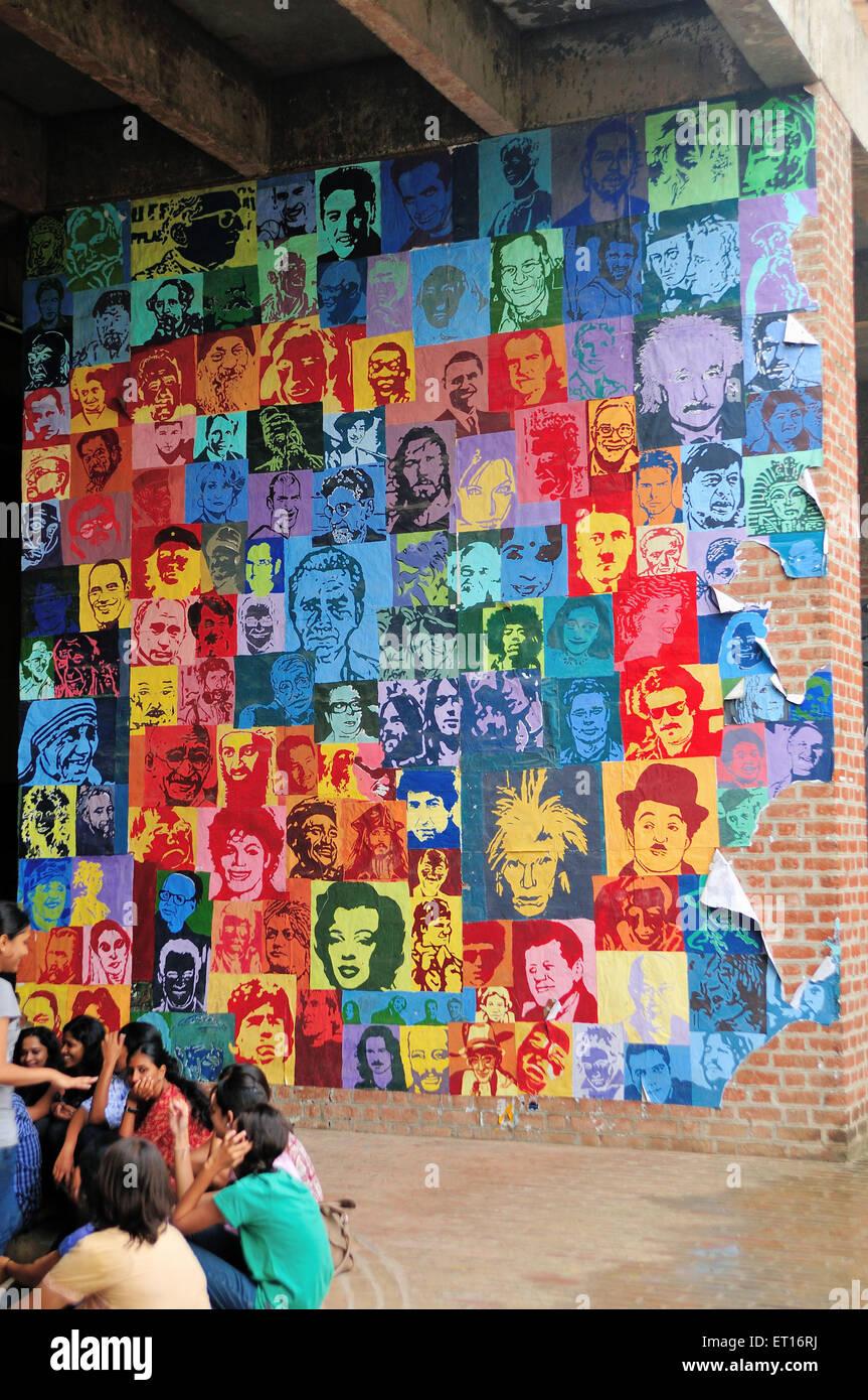 Wall Graffiti Ahmedabad Gujarat India Asia - Stock Image