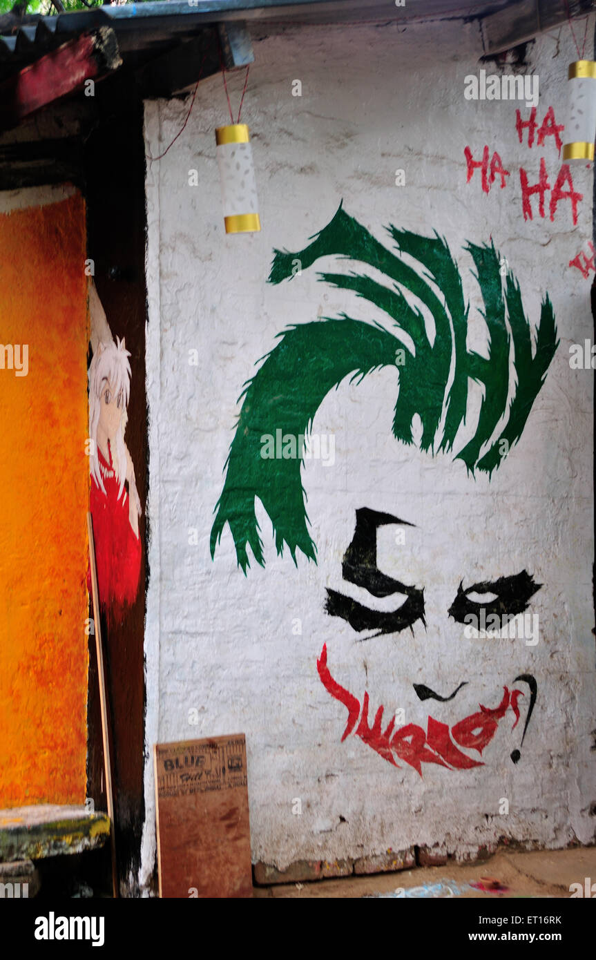 Wall Graffiti Ahmedabad Gujarat India Asia - Stock Image