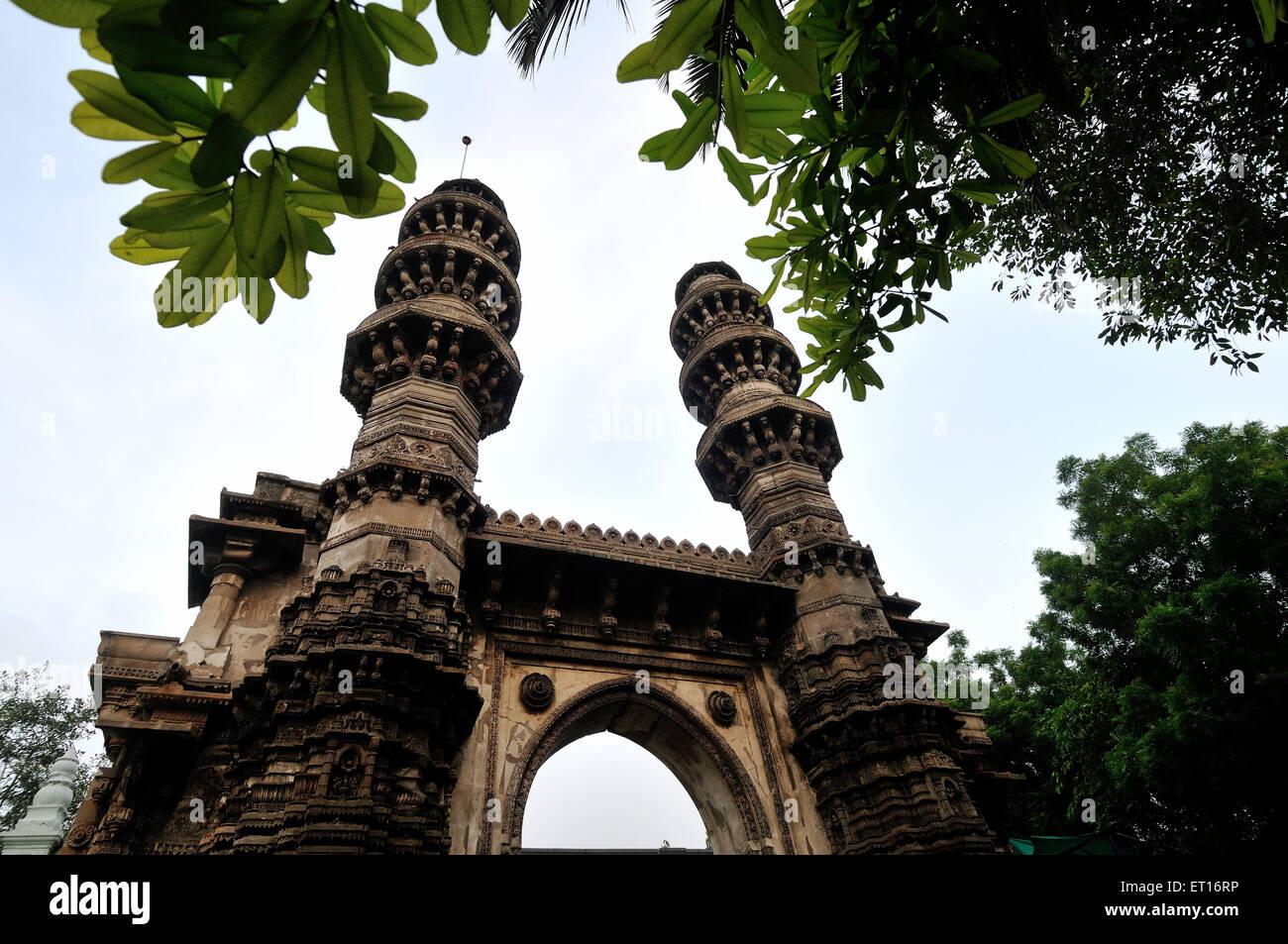 Jhulta Minaret at Ahmedabad in Gujarat India Asia - Stock Image