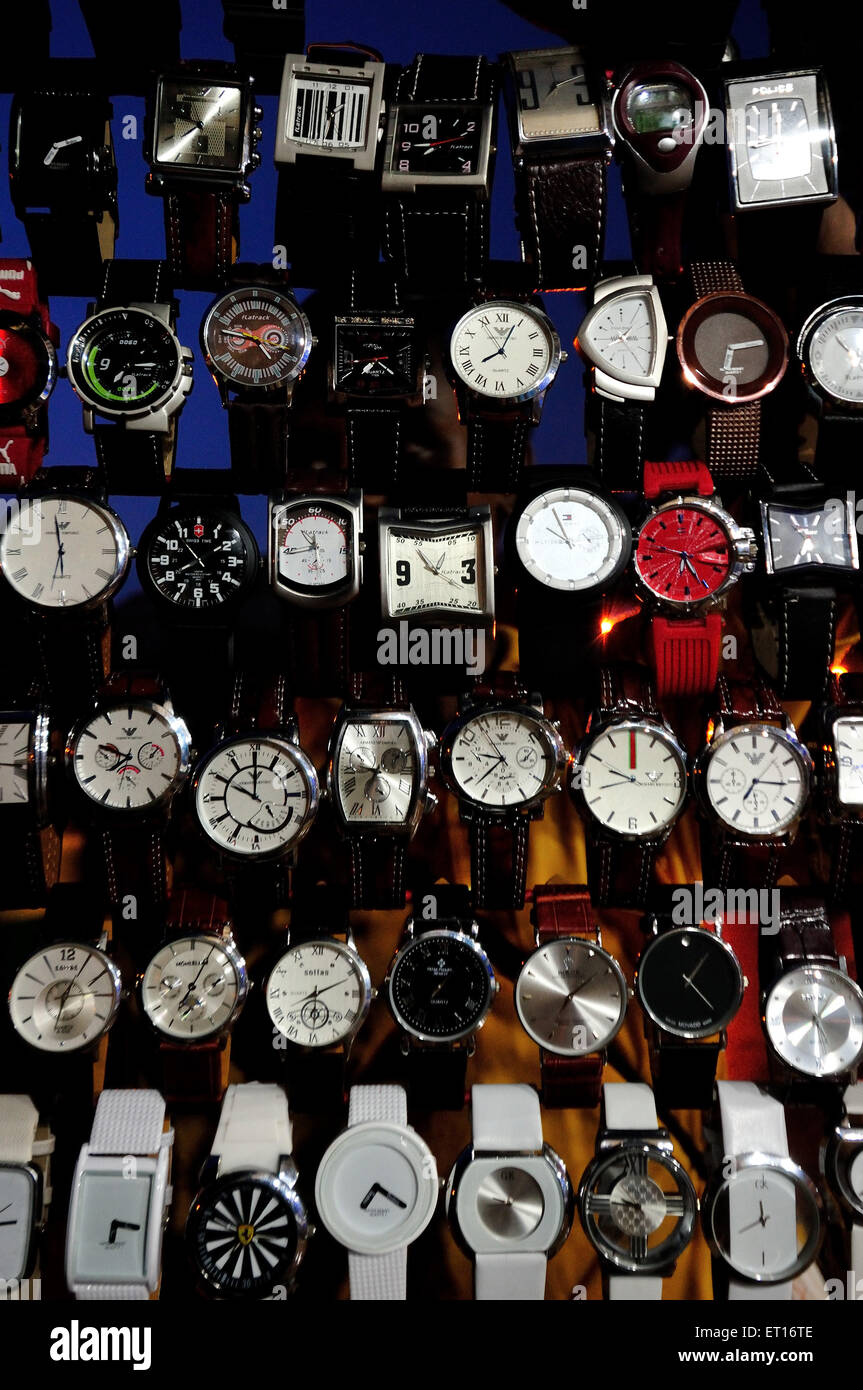Assorted collection of Watches Ahmedabad Gujarat India Asia - Stock Image