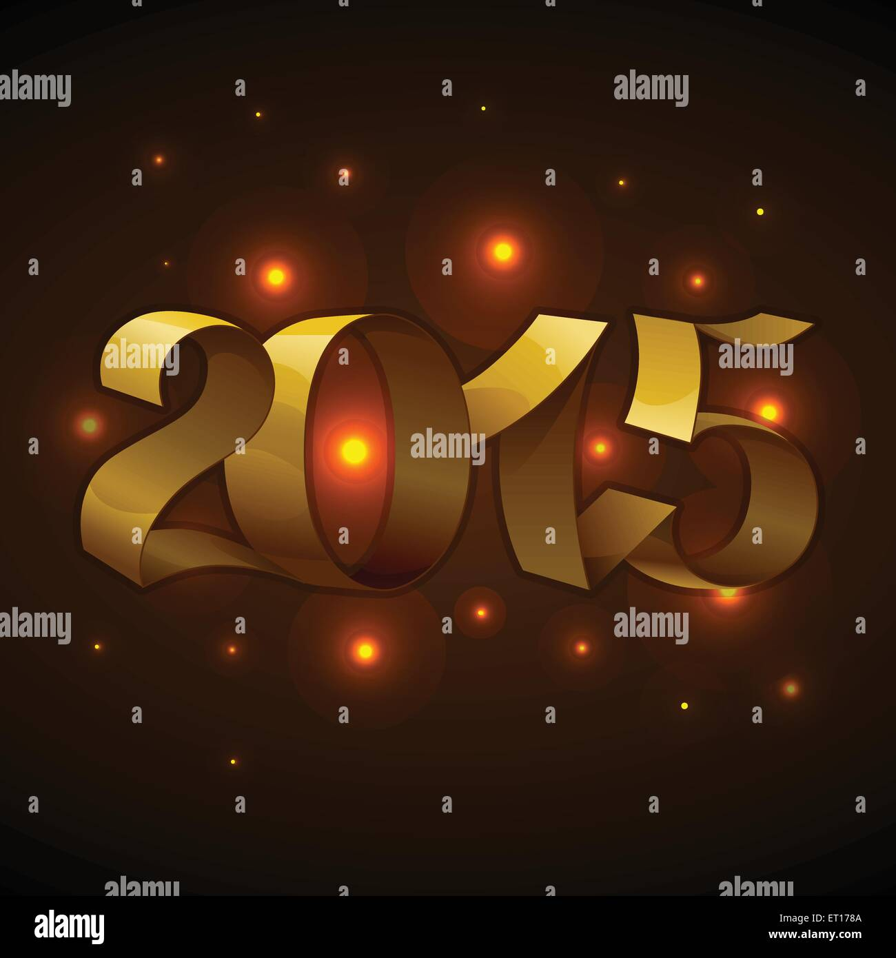 Isolated golden shiny ribbons text 2015 on brown background with stars. RGB EPS 10 vector illustration - Stock Image