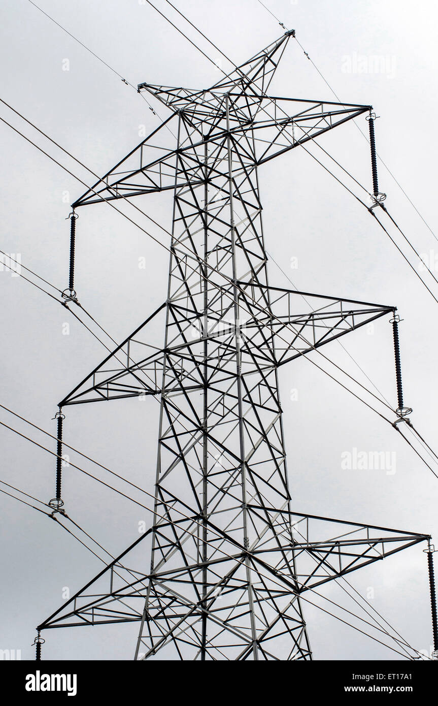 electric transmission tower India Asia Stock Photo
