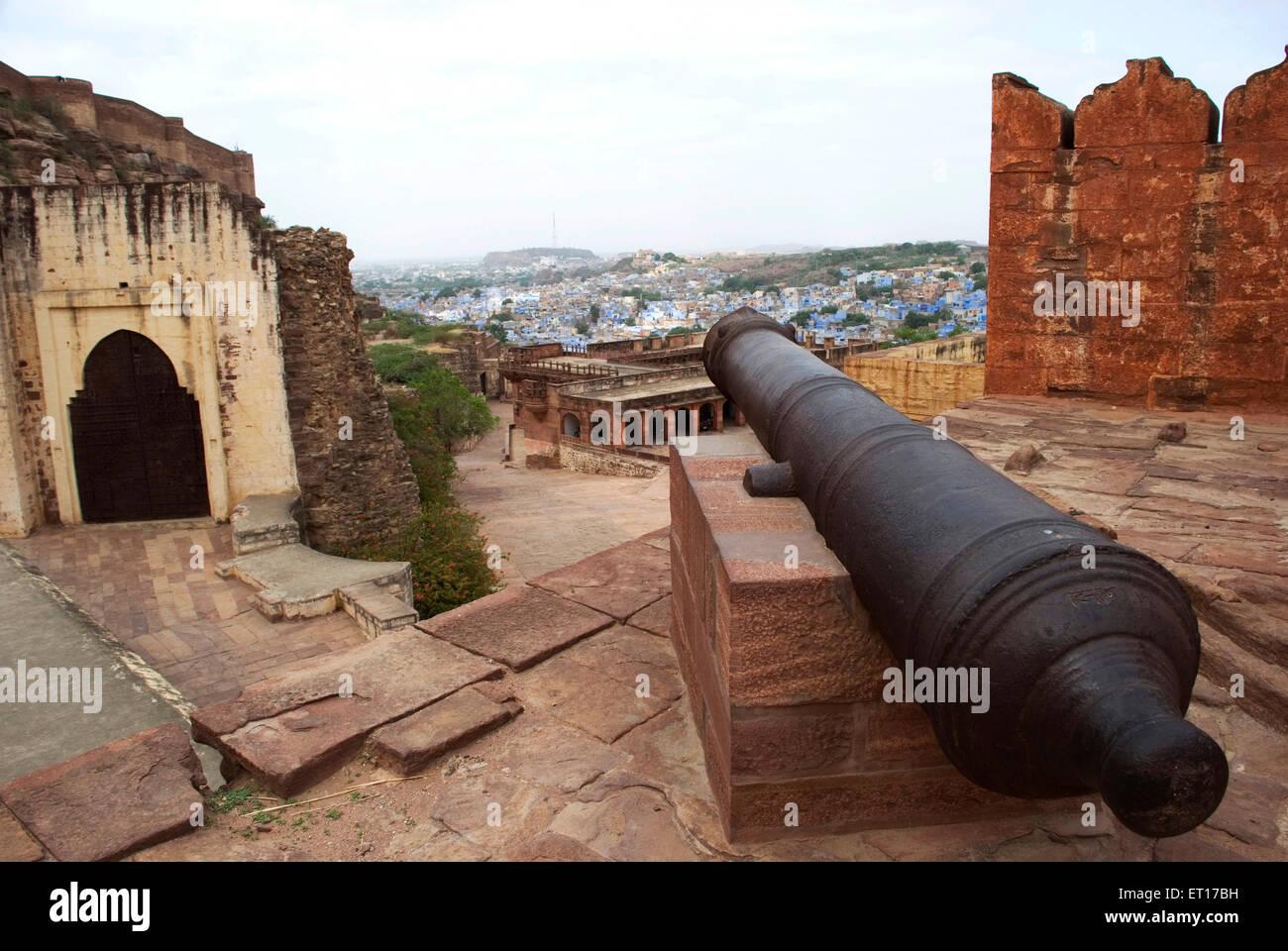 Canon ; Mehrangarh fort ; Jodhpur ; Rajasthan ; India - Stock Image